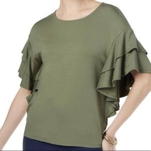 olive green ruffle sleeve top